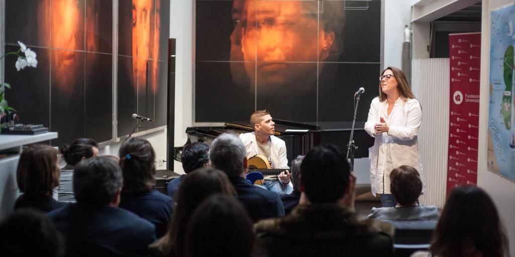 Virginia Gonzalez y David Hontalba, Músicos Internos Residentes de Música en Vena, en el acto de presentación FUE_MeV